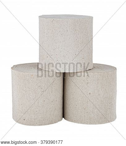 Three Rolls Of Cheap Grey Toilet Paper In Pyramid Isolated On White Background