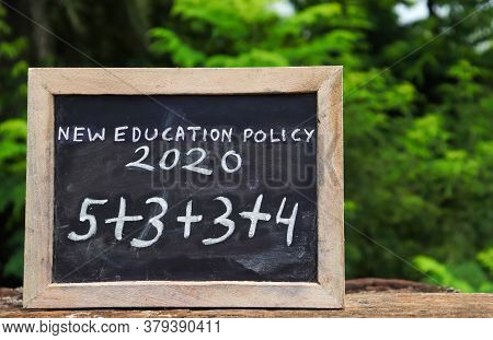 New Education Policy 2020 & Its Structure Written On Chalkboard, India's New Education Policy