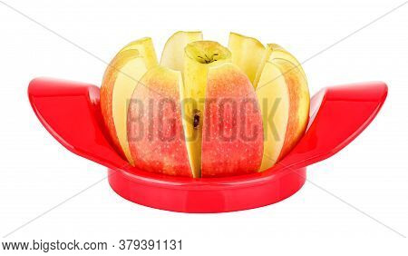 Ripe And Juicy Colorful Apple Sliced With A Apple Cutter Isolated On White Background