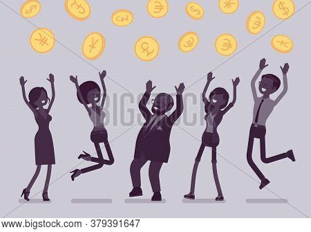Happy People Enjoy Catching Coins Falling From Sky. Helicopter Money, Easy Dropping Payments To Indi