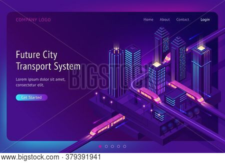 Futuristic Town With Train Highway And Skyscrapers At Night. Future City Transport System Banner. Ve
