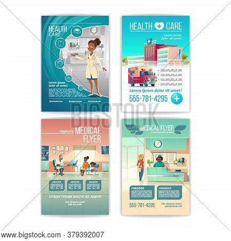 Medical Flyers Set. Health Care Service Posters With People In Hospital, Clinic Building And Interio