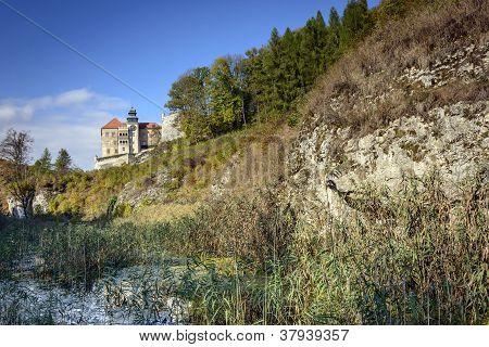 Old Castle Called Pieskowa Skala In Poland