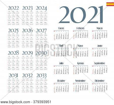 Spanish Calendar 2021 - 2033 On White Background, Week Starts On Sunday