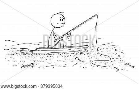 Vector Cartoon Stick Figure Drawing Conceptual Illustration Of Man Fishing Fish On Dry River Or Sea