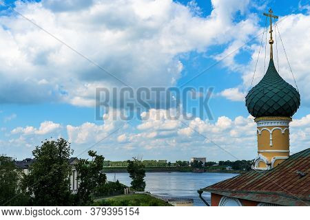 Russia, Uglich, July 2020. A Magnificent View Of The River From The Bell Tower Of The Cathedral.
