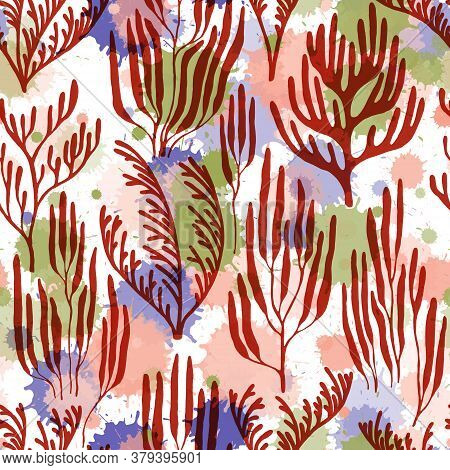 Coral Polyps Seamless Pattern. Paint Splashes Drops Watercolor Background. Australian Staghorn And P