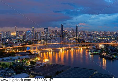 Aerial View Of Taksin Bridge With Chao Phraya River, Bangkok Downtown. Thailand. Financial District