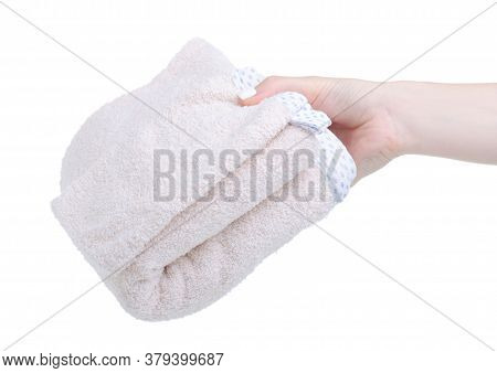 Folded Baby Towel In Hand On White Background Isolation