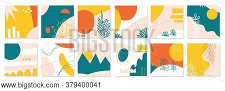Big Set Of Twelve Abstract Backgrounds. Hand Drawn Various Shapes And Doodle Objects. Contemporary M