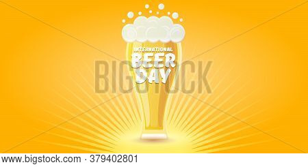 Cartoon International Beer Day Horizontal Banner Or Poster With Beer Glass Isolated On Light Yellow