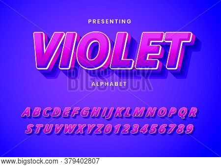Trendy Gradient Style Custom Font Typeface. Modern 3D Text For Logo, Title, Headline. Fancy And Bold