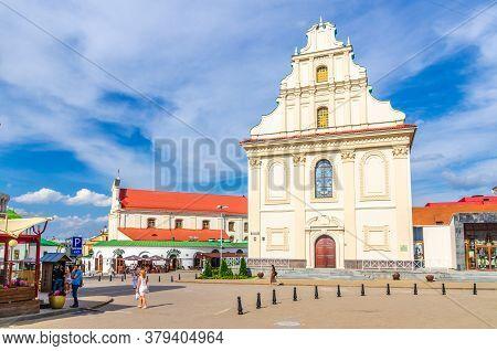 Minsk, Belarus, July 26, 2020: St. Joseph Roman Catholic Church Baroque Architecture Style Building