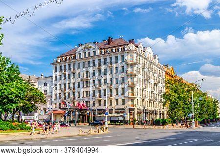 Minsk, Belarus, July 26, 2020: Hotel Europe Modern Style Building On Freedom Svabody Square Pobedite
