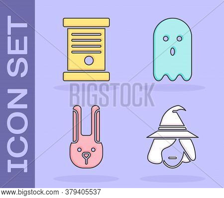 Set Witch, Decree, Paper, Parchment, Scroll, Rabbit With Ears And Ghost Icon. Vector