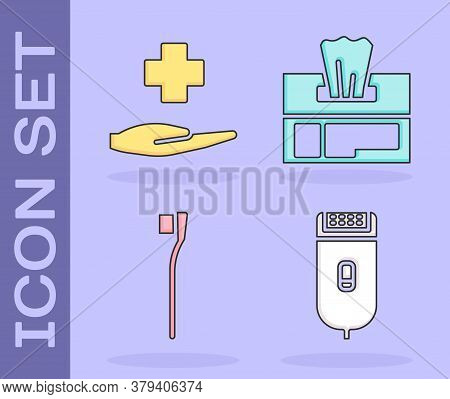Set Electrical Hair Clipper Or Shaver, Cross Hospital Medical, Toothbrush And Wet Wipe Pack Icon. Ve