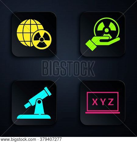 Set Xyz Coordinate System, Planet Earth And Radiation, Telescope And Radioactive. Black Square Butto