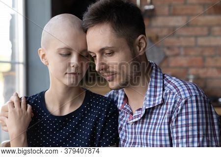 Caring Husband Hug Support Sick Young Hairless Wife