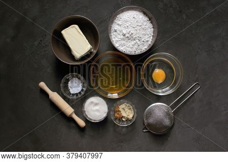Do It Yourself Ginger Biscuits. Step By Step Cooking Recipe Step 1 Ingredients. Flour. Sugar, Butter