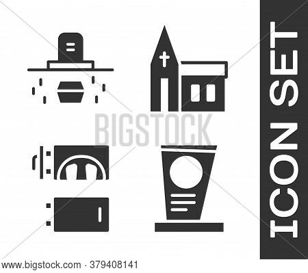 Set Grave With Tombstone, Grave With Coffin, Crematorium And Church Building Icon. Vector