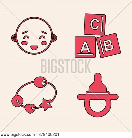 Set Baby Dummy Pacifier, Happy Little Boy Head, Abc Blocks And Rattle Baby Toy Icon. Vector