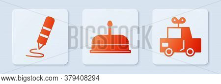 Set Cake With Burning Candles, Wax Crayon For Drawing And Toy Car. White Square Button. Vector