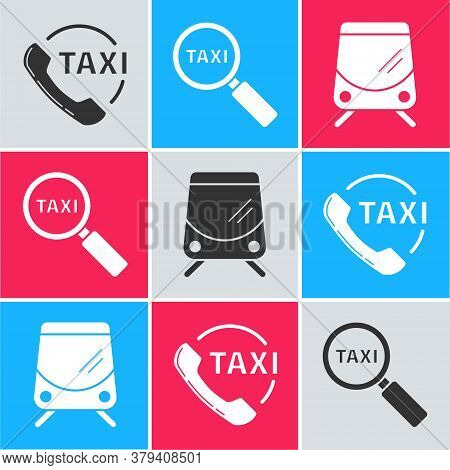 Set Taxi Call Telephone Service, Magnifying Glass And Taxi Car And Tram And Railway Icon. Vector