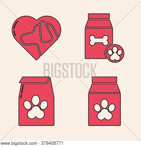 Set Bag Of Food For Pet, Heart With Dog, Bag Of Food For Pet And Bag Of Food For Pet Icon. Vector
