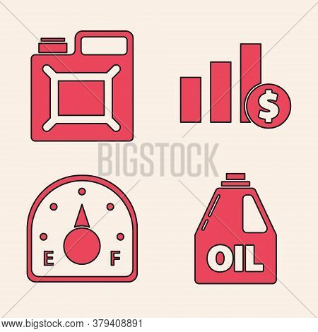 Set Canister For Motor Machine Oil, Canister For Gasoline, Pie Chart Infographic And Dollar And Moto
