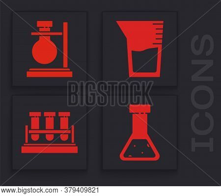 Set Test Tube And Flask Chemical, Test Tube Flask On Stand, Laboratory Glassware Or Beaker And Test