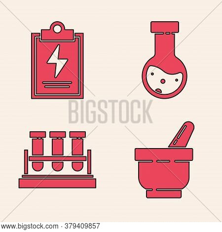 Set Mortar And Pestle, Laboratory Clipboard With Checklist, Test Tube And Flask Chemical And Test Tu
