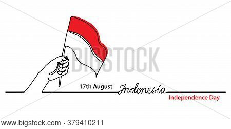 Indonesia Independence Day Simple Web Banner, Background With Flag And Hand. One Continuous Line Dra
