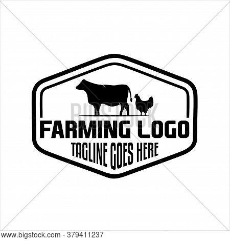Farm Classic Logo Design, Vintage Cattle / Beef Emblem Label Logo Design Vector Illustration