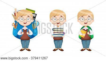Back To School. Cute Schoolboy, Set Of Three Poses. Funny Boy Cartoon Character. Vector Illustration