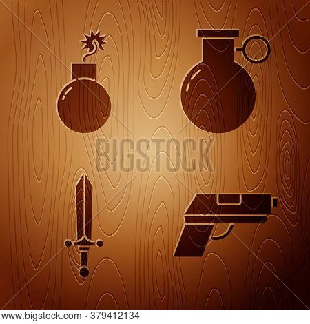 Set Pistol Or Gun, Bomb Ready To Explode, Medieval Sword And Hand Grenade On Wooden Background. Vect