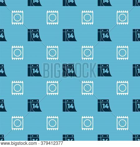 Set Calendar With February 14 And Condom In Package On Seamless Pattern. Vector