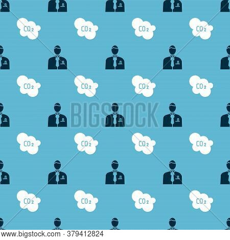 Set Businessman Or Stock Market Trader And Co2 Emissions In Cloud On Seamless Pattern. Vector