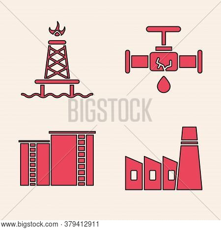 Set Oil Industrial Factory Building, Oil Rig With Fire, Broken Pipe With Leaking Water And Oil Indus