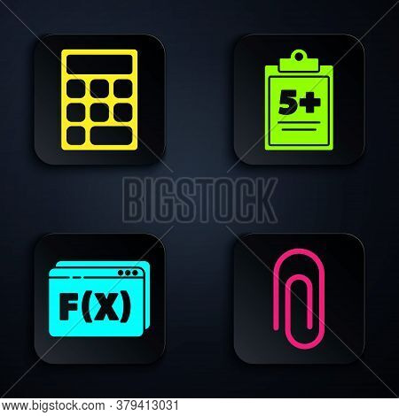 Set Paper Clip, Calculator, Function Mathematical Symbol And Test Or Exam Sheet. Black Square Button