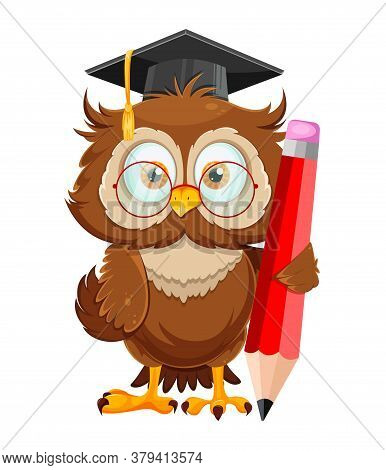 Cute Wise Owl Holding Big Pencil. Funny Owl Cartoon Character, Back To School Concept. Vector Illust