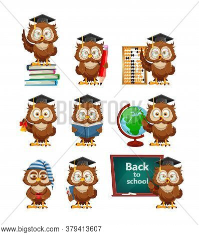 Cute Wise Owl, Set Of Nine Poses. Funny Owl Cartoon Character, Back To School Concept. Vector Illust