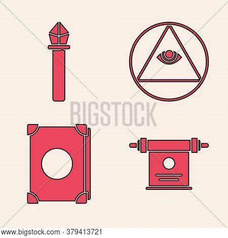Set Magic Scroll, Magic Staff, Masons And Ancient Magic Book Icon. Vector
