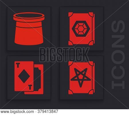 Set Ancient Magic Book, Magician Hat, Ancient Magic Book And Playing Cards Icon. Vector