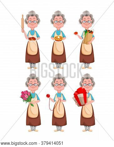 Happy Grandparents Day, Set Of Six Poses. Cute Smiling Old Woman. Cheerful Grandmother Cartoon Chara