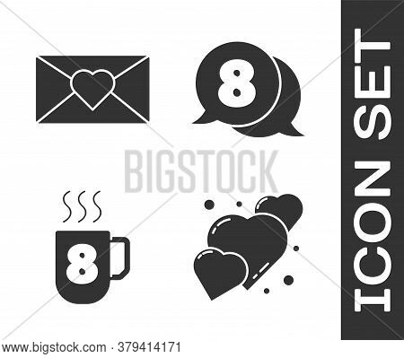 Set Heart, Envelope With 8 March, Coffee Cup With 8 March And 8 March In Speech Bubble Icon. Vector