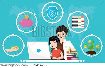 Financial Literacy Course For Kid Concept. Design By Boy Use Laptop And Consult His Father For Learn