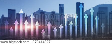 Financial Growth Arrow Chart City View Website Panoramic Header Banner. Investment, Stock Trading, E