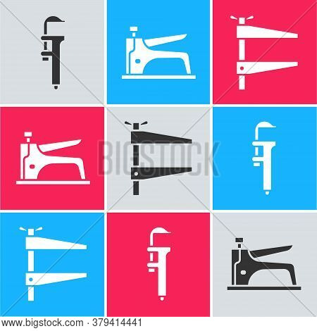 Set Calliper Or Caliper And Scale, Construction Stapler And Clamp Tool Icon. Vector