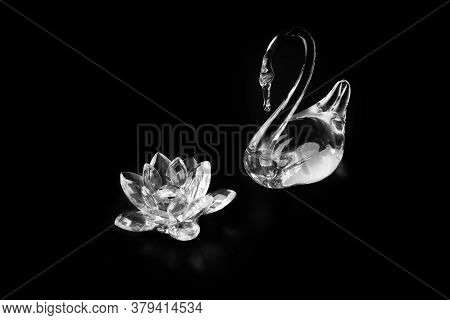 Statuette Of Crystal Swan And Glass Lotus Flower.