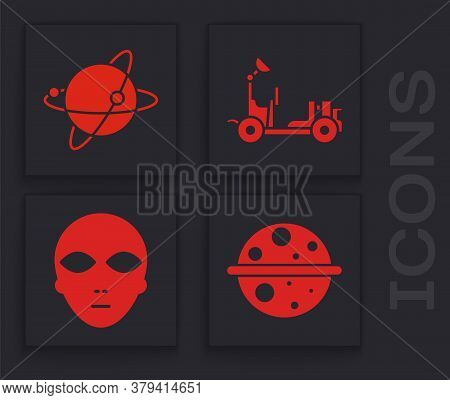 Set Planet Saturn, Satellites Orbiting The Planet Earth, Mars Rover And Alien Icon. Vector